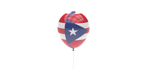 Puerto-Rico Balloon Rotating Flag Animation - Alpha Channel - Transparent Animation