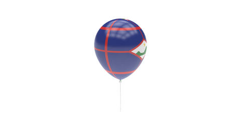 Sint-Eustatius Balloon Rotating Flag Animation - Alpha Channel - Transparent Animation