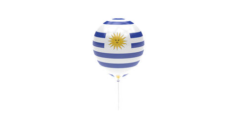 Uruguay Balloon Rotating Flag Animation - Alpha Channel - Transparent Animation