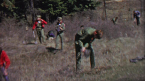 1967: Boy scouts reforestation planting trees digging holes in forest Footage