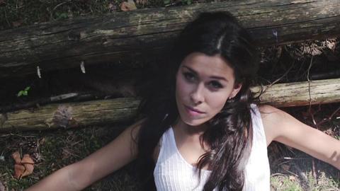 Beautiful Girl Lying On A Wood Footage