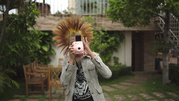 Punk With Camera Takes A Picture Footage