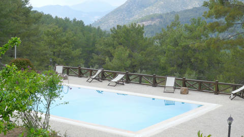 Swimming pool in hill resort with pupils, fethiye, turkey Footage