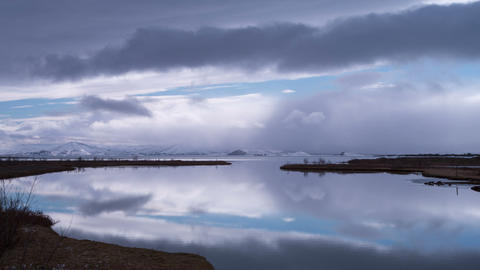 Time Lapse Of Lake Pingvallavatn In Iceland stock footage