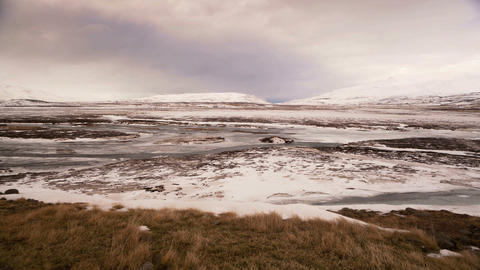 Time lapse of wide winter panorama in Iceland Footage