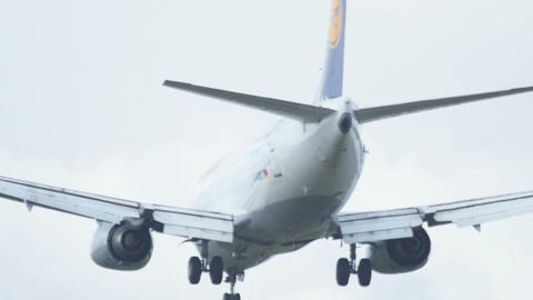 Airbus 320 approaching before landing in Frankfurt Footage