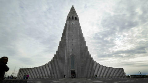 Time lapse of church Hallgrimskirkja in Reykjavik, Iceland Footage