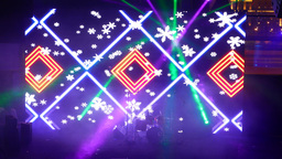 Bright large LED display at concert hall stage, flickering image move at screen Footage