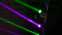 Moving Heads, Intelligent Stage Lighting Shine In Green And Magenta Beam stock footage