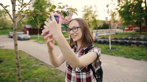 Young attractive woman in glasses taking selfie with sakura flowers Footage