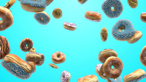 Different donuts on a blue background Animation