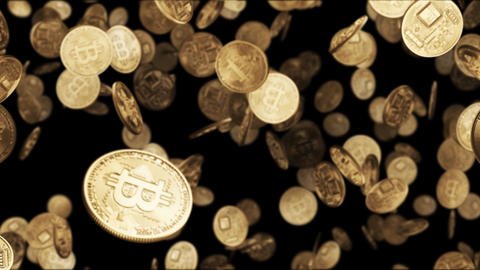 Falling gold coins bitcoin Animation