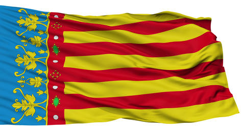 Isolated Valencian Community flag, Spain Animation