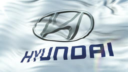 Hyundai flag waving on sun. Seamless loop with highly detailed fabric texture Animation