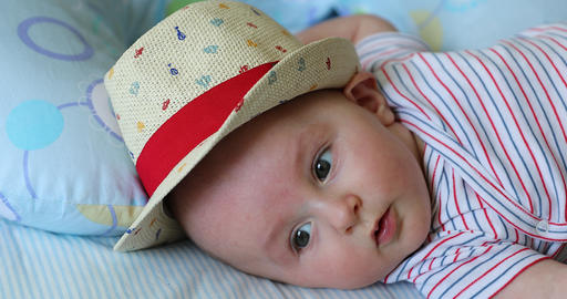 Cute Baby Boy Aged 5 Month Old With His Straw Hat Live Action