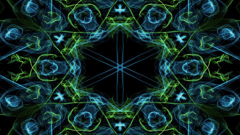 Live green and blue fractal mandala, video tunnel on black background. Animated Animation