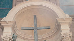 Interior of fresco art in church Footage