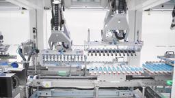 Packaging machine at workshop of food factory Archivo