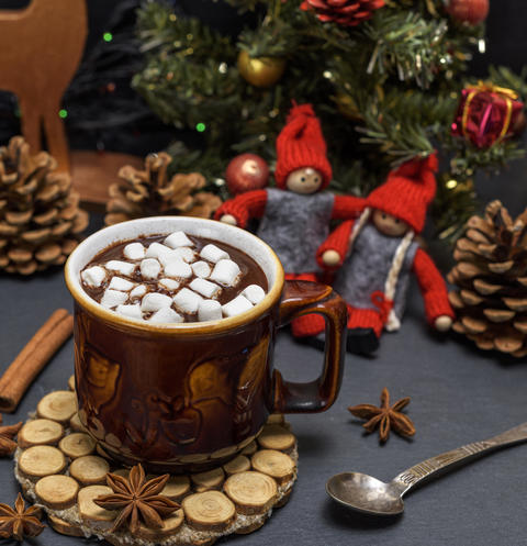 brown ceramic mug with hot chocolate Photo