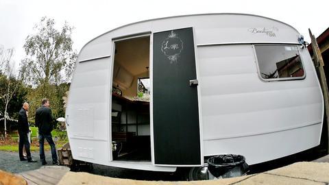 shot of a portable caravan Footage