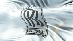 Rolls Royce flag waving on sun. Seamless loop with highly detailed fabric Animation