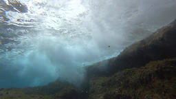 Underwater waves over rocks, half speed Footage