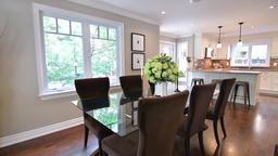 The interior kitchen and dining room of a beautiful country home Footage