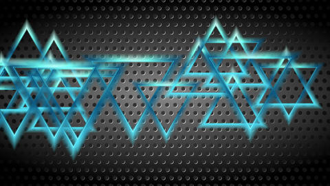 Blue moving shiny triangles on dark perforated background Animation
