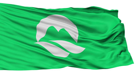 Isolated Mine city flag, prefecture Yamaguchi, Japan Animation