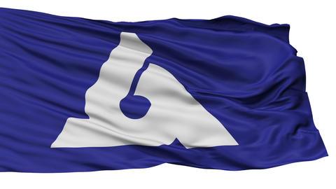 Isolated Murayama city flag, prefecture Yamagata, Japan Animation
