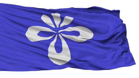 Isolated Nagai city flag, prefecture Yamagata, Japan Animation