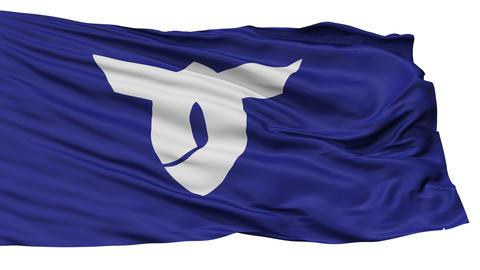 Isolated Obanaza city flag, prefecture Yamagata, Japan Animation