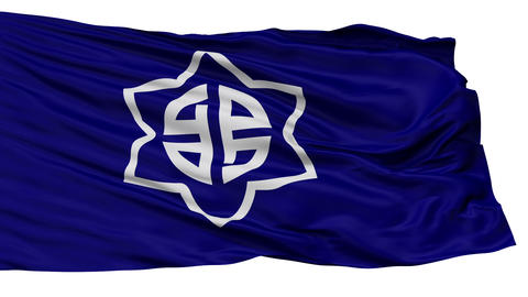 Isolated Shinjo city flag, prefecture Yamagata, Japan Animation