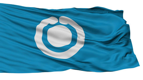 Isolated Shiogama city flag, prefecture Miyagi, Japan Animation