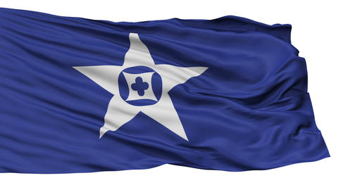 Isolated Tanabe city flag, prefecture Wakayama, Japan Animation
