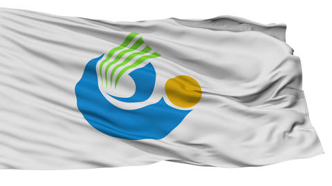 Isolated Tochigi city flag, prefecture Tochigi, Japan Animation
