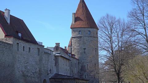 Ancient fortress walls of Tallinn, Estonia Footage