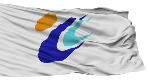 Isolated Tomi city flag, prefecture nagano, Japan Animation