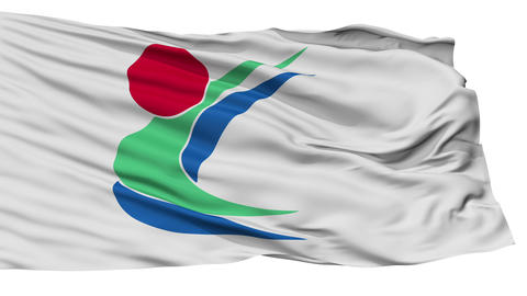 Isolated Toon city flag, prefecture Ehime, Japan Animation