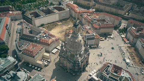 Aerial view of the famous Frauenkirshe or Church of Our Lady and Neumarkt square GIF