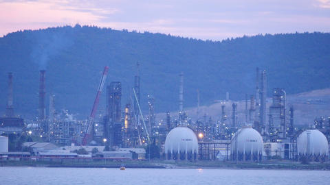 aliaga oil refinery, petrochemical petrol plant, izmir, turkey Footage