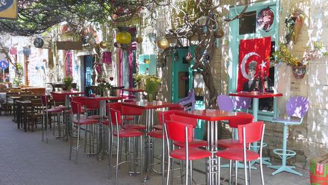 Empty café bar restaurant on day time, foca, izmir, turkey Footage