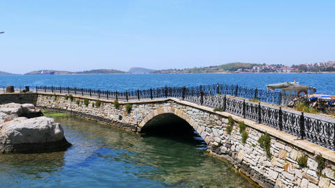 empty bridge of foca castle, izmir, turkey Footage