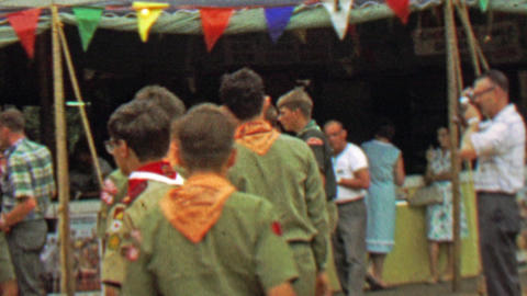 1967: Scouts marketplace public mingle area 12th World Scout Jamboree Footage