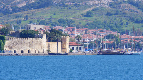 traditional turkish houses, travel destination around foca castle, turkey Footage