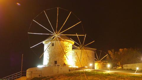 historical mill at night, travel destination, alacati, cesme, turkey Live Action