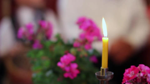 Yellow candle burning flame, situated between potted with geraniums purple Footage