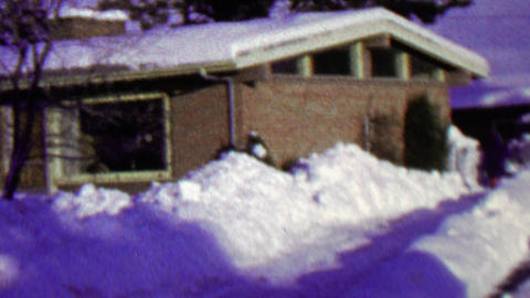 1967: House snowed in blizzard winter storm plowed driveway Footage