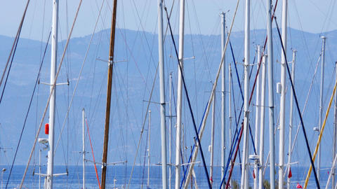 yatch poles in marina, boat dock, ship pier, kusadasi, turkey Footage