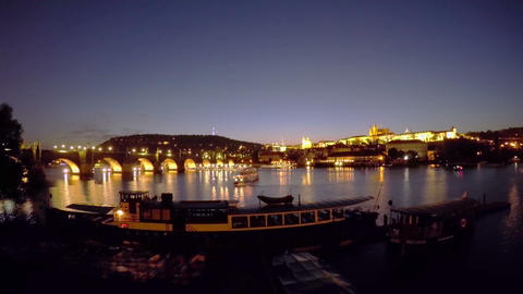 Sunset over the Vltava. Time Lapse Footage